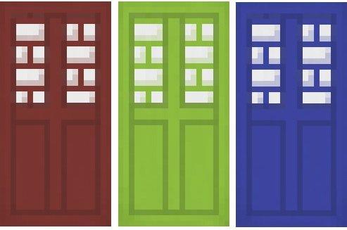 baner minecraft 3 kolory drzwi