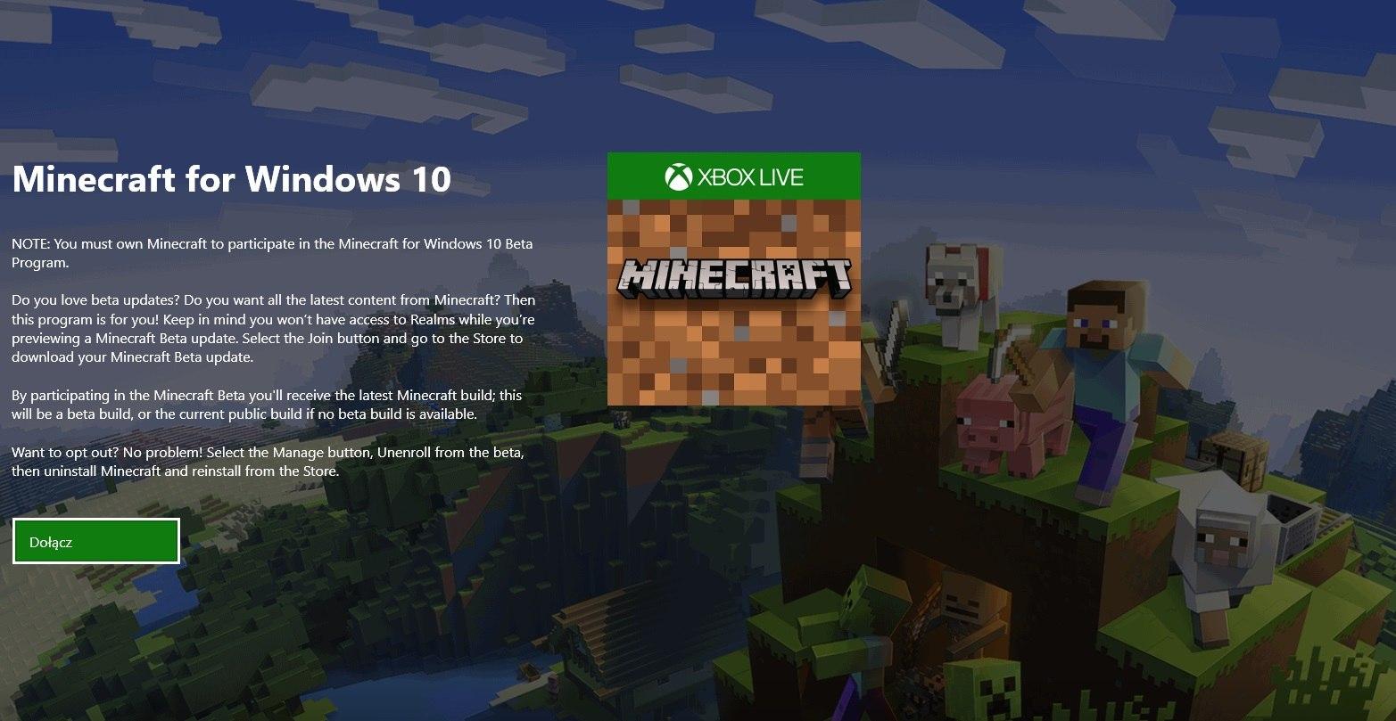 dolacz do programu beta minecraft dla windows 10