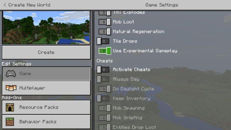 enable experimental features minecraft bedrock img2