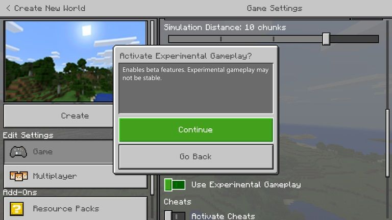 enable experimental features minecraft bedrock