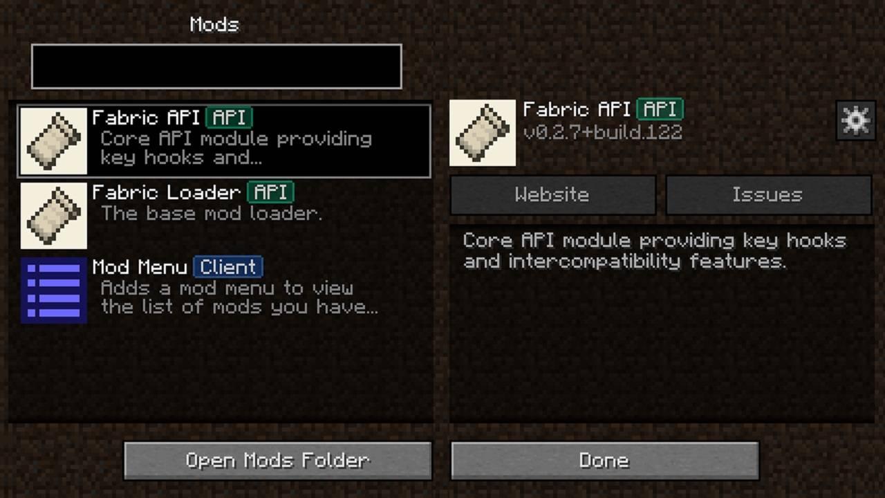 fabric mod menu minecraft