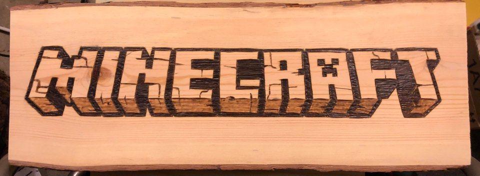 napis na drewnie minecraft