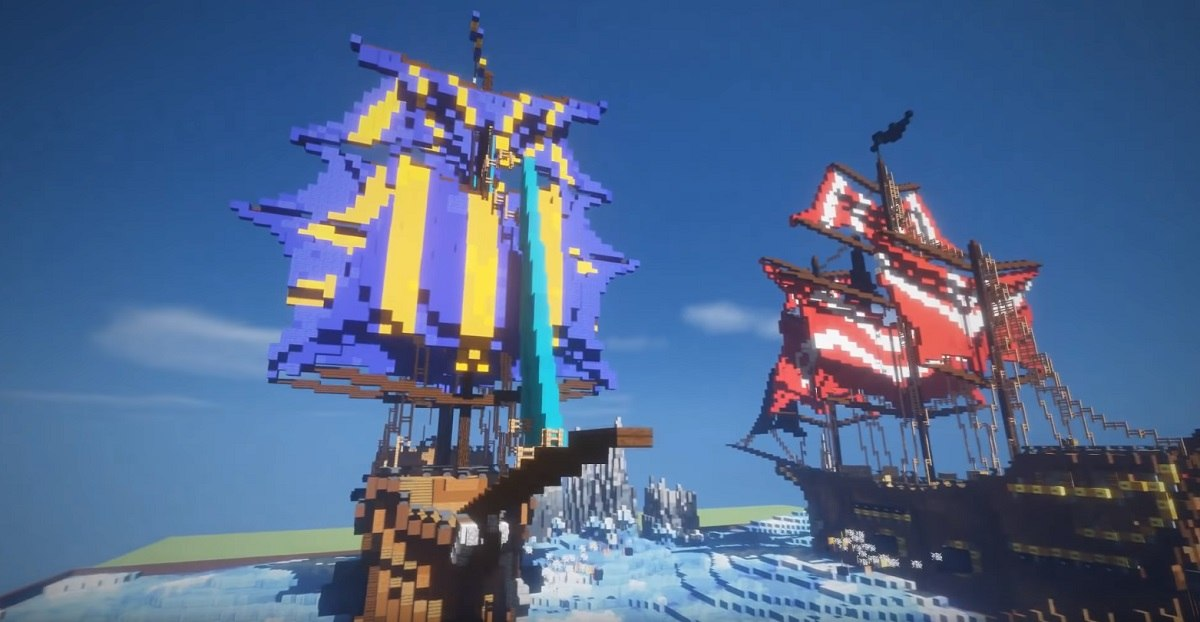 statki w minecraft timelaps 2