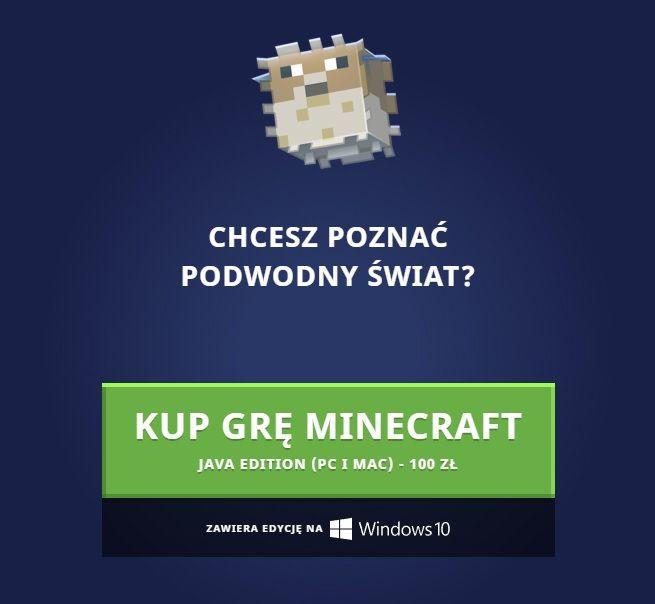kup minecraft edycja java i windows 10 aktualizacja wodna