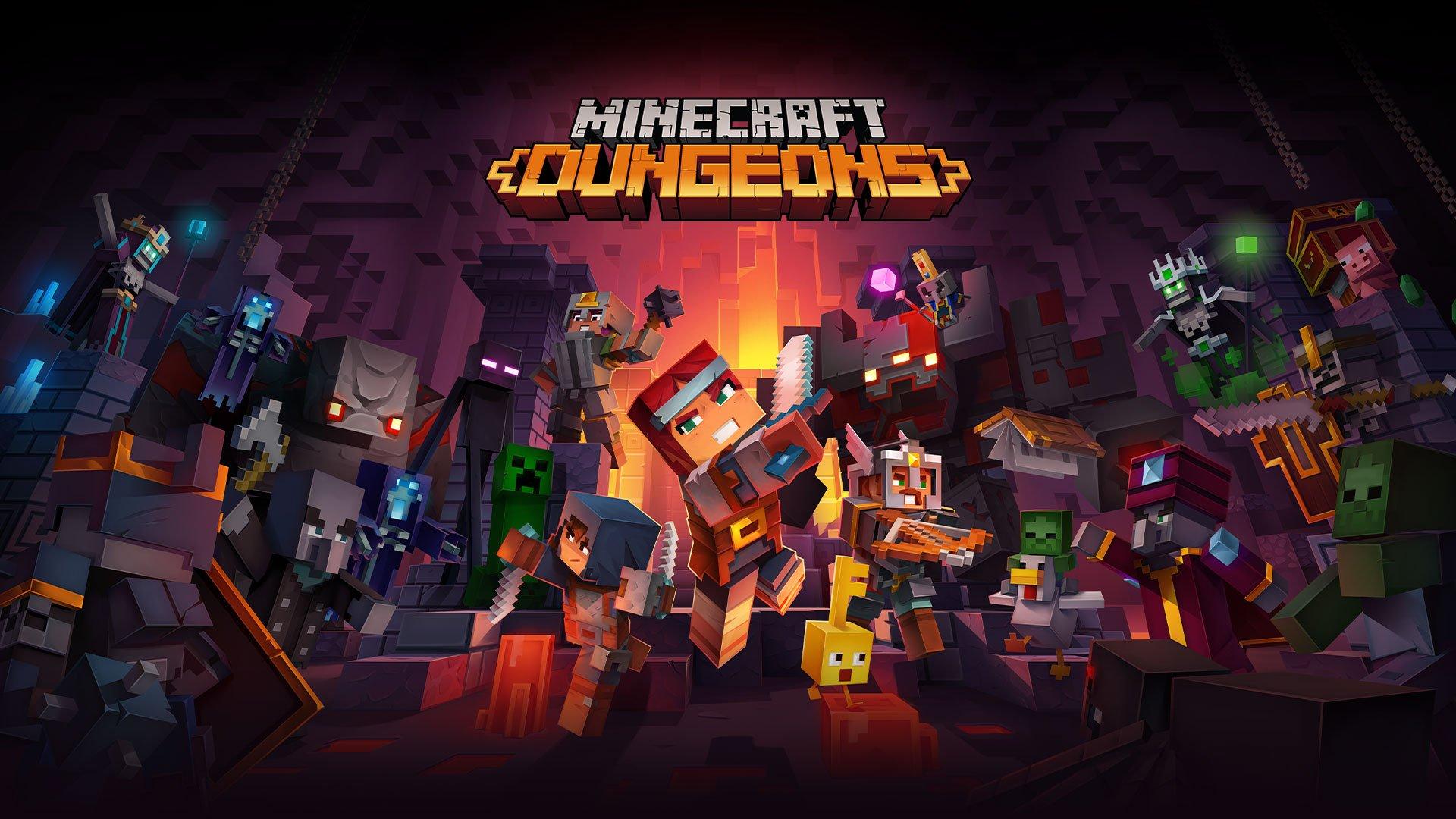 Minecraft Dungeons tlo tytulowe