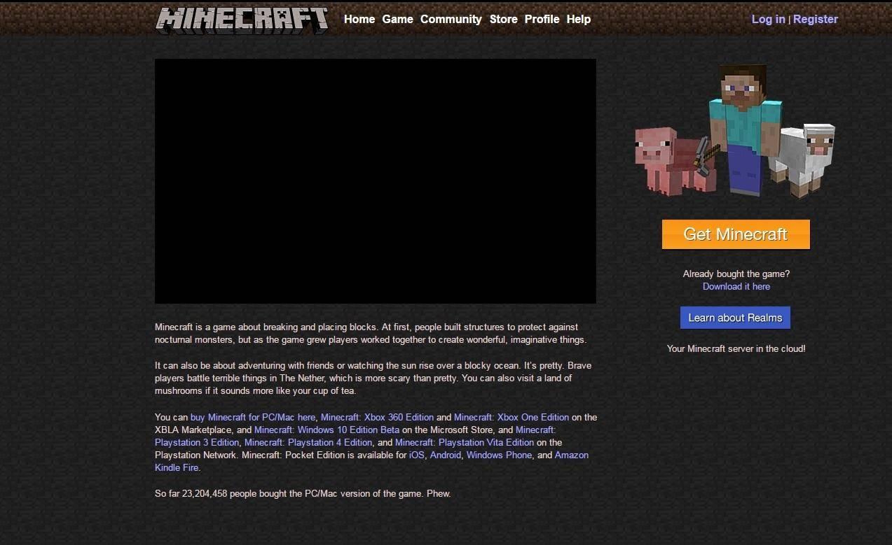 stary wyglad minecraft.net