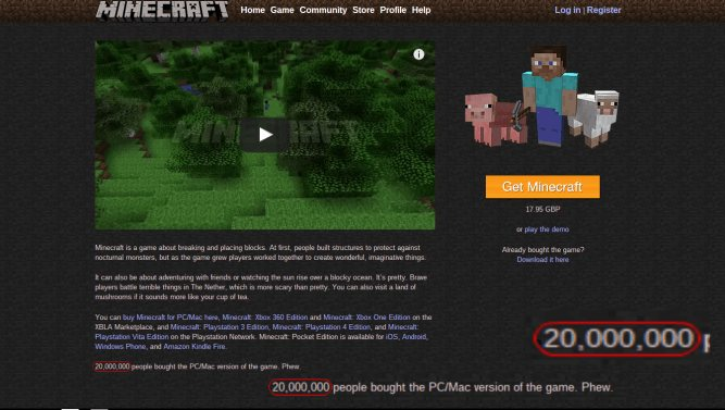 20 milionow sztuk minecraft na pc