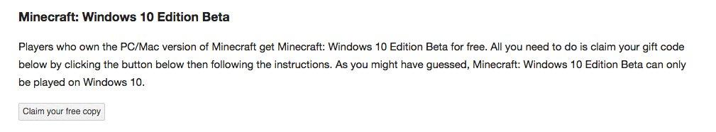 twoja kopia gry mojang windows 10 minecraft beta