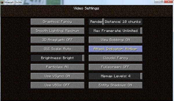 wskaznik sily ataku opcja w menu minecraft