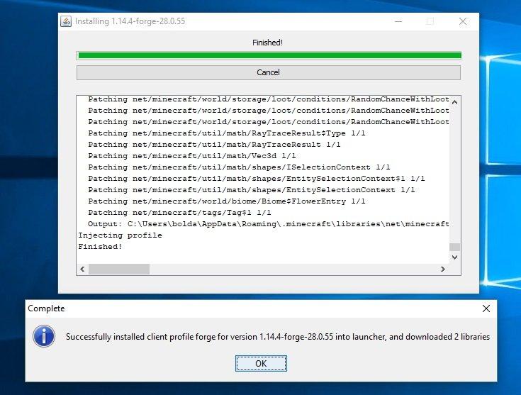 forge modloader minecraft 1.14.4 instalacja zakonczona