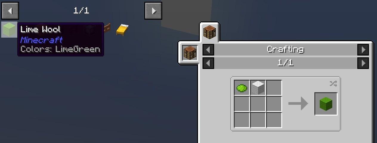 JEI mod minecraft schowek z zapisanymi skrotami do wybranych receptur