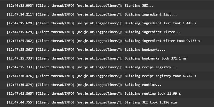 jei ladowanie drzewa receptur minecraft w JEI log z gry