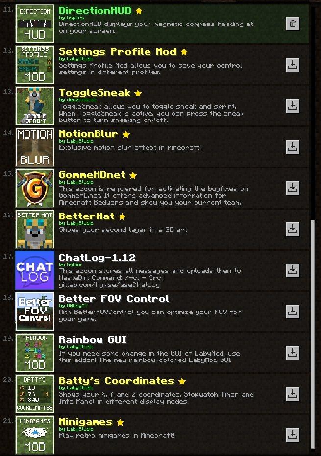 labymod dodatki addons minecraft lista 11 21