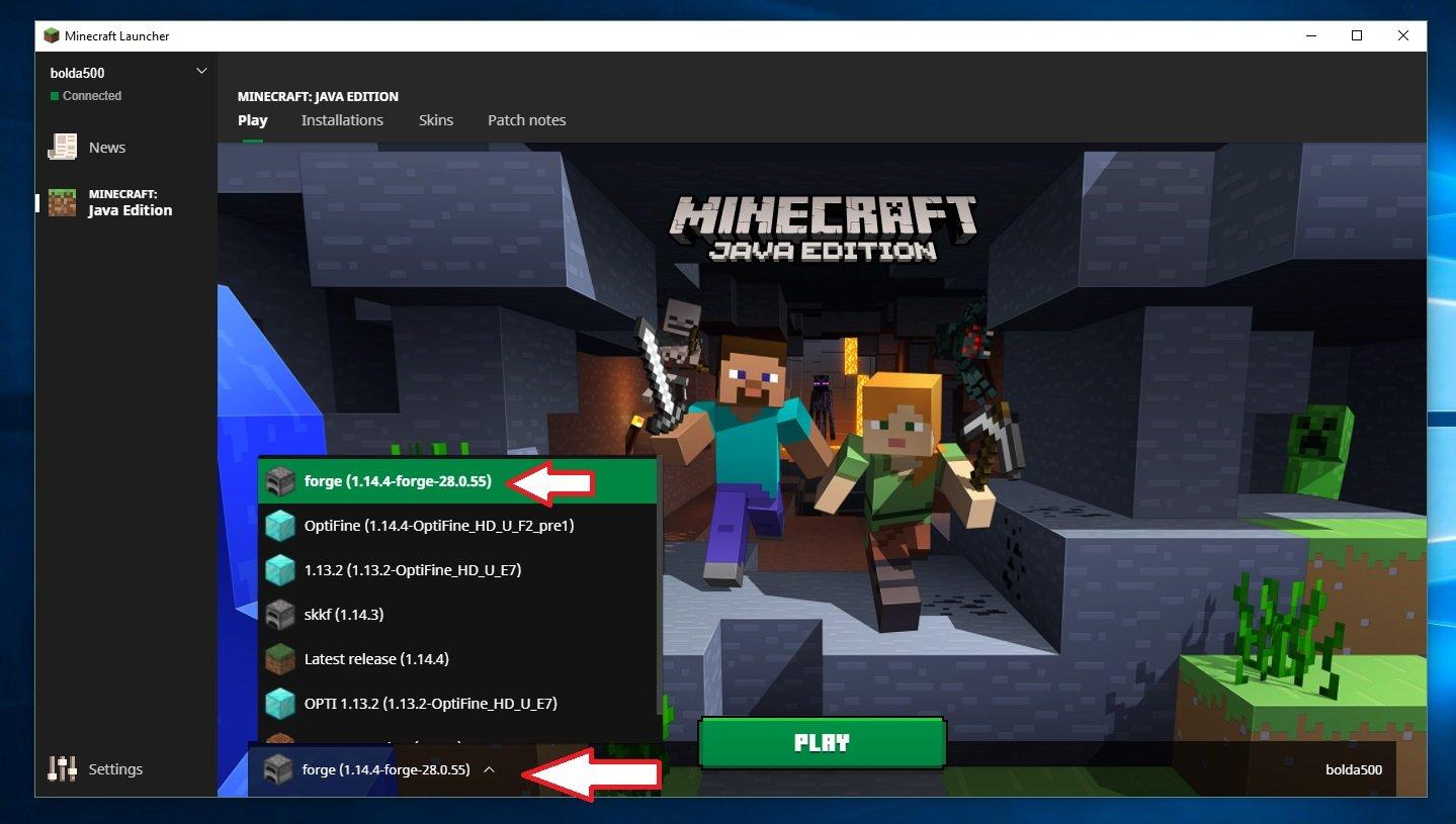 forge minecraft wybor wersji