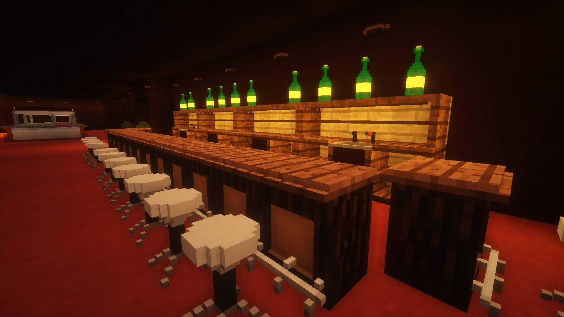 Krzesła barowe i lada barowa zbudowana przy pomocy miko bloków