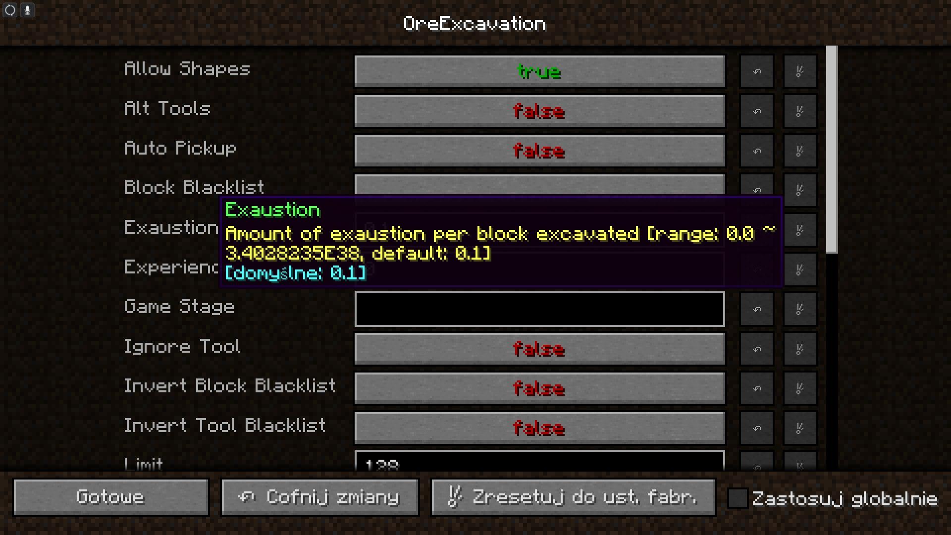 ore excavation lista opcji oc