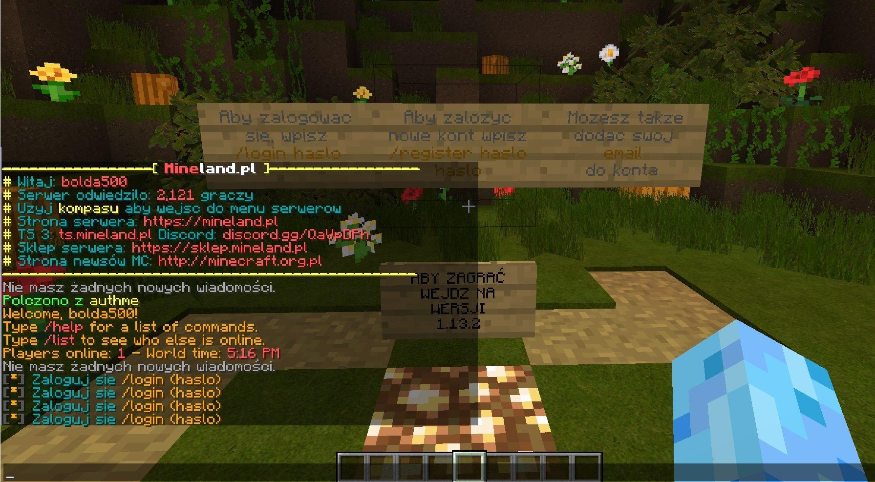 logowanie na serwerze minecraft przy pomocy authme