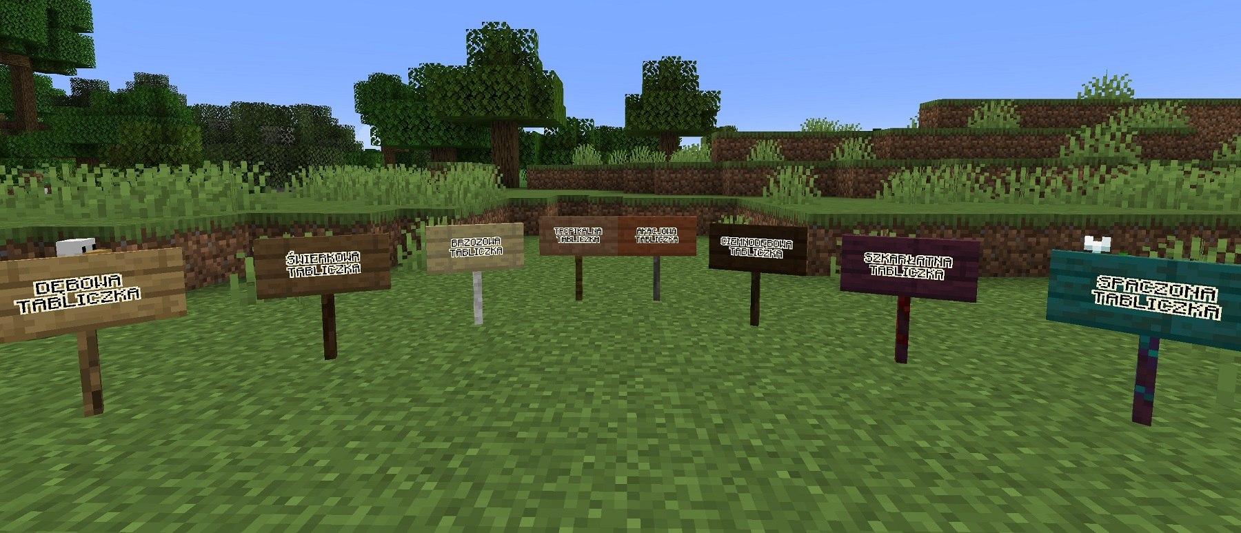tabliczki sign minecraft wszystkie 8 rodzai tabliczek z drewna