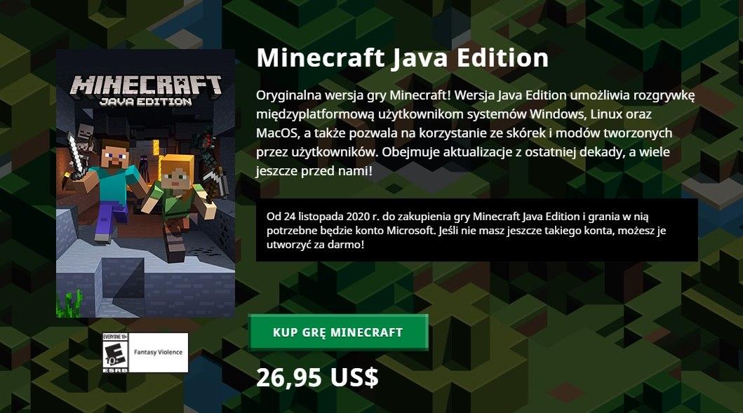 kup minecraft java edition dla konta microsoft