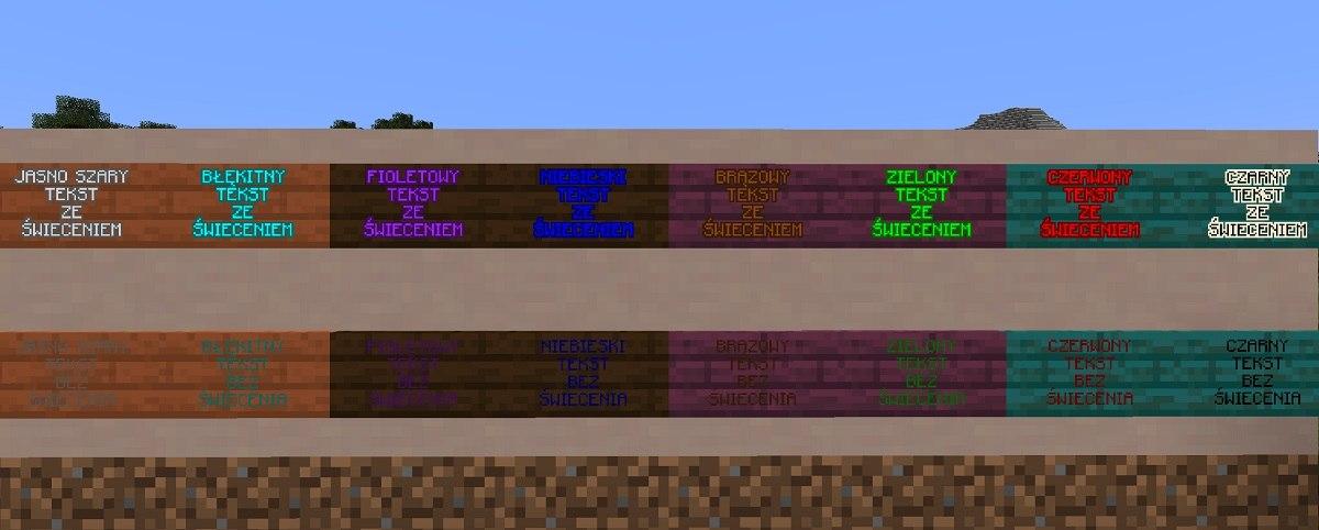 tabliczki sign minecraft barwiony tekst z podswietleniem zdj2