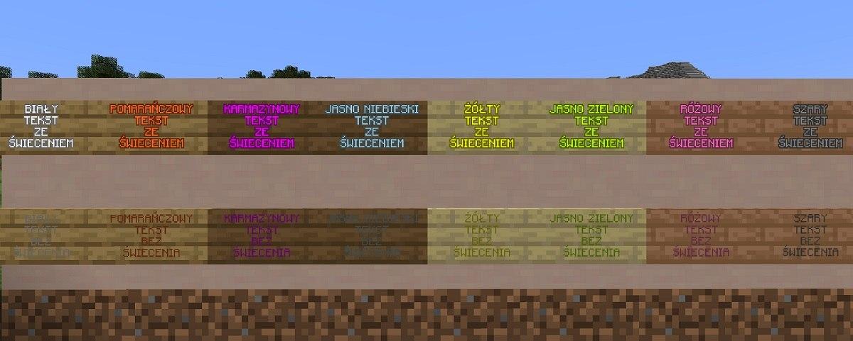 tabliczki sign minecraft barwiony tekst z podswietleniem