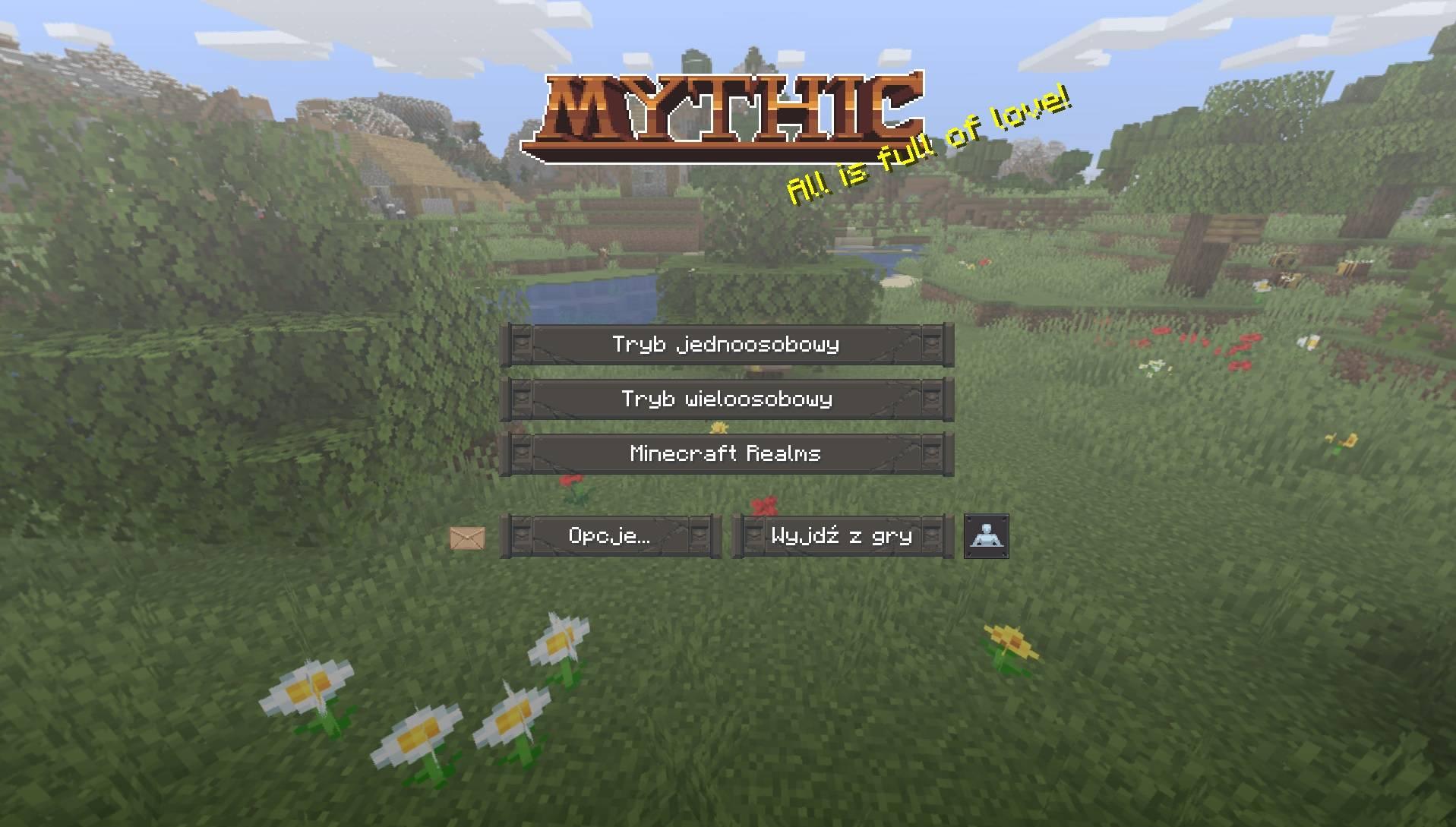 MYTHIC paczka tekstur zasobow 1.15 1.14.4 ekran startowy minecraft