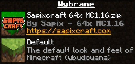 SapixCraft tekstury minecraft ikona paczki zasobow