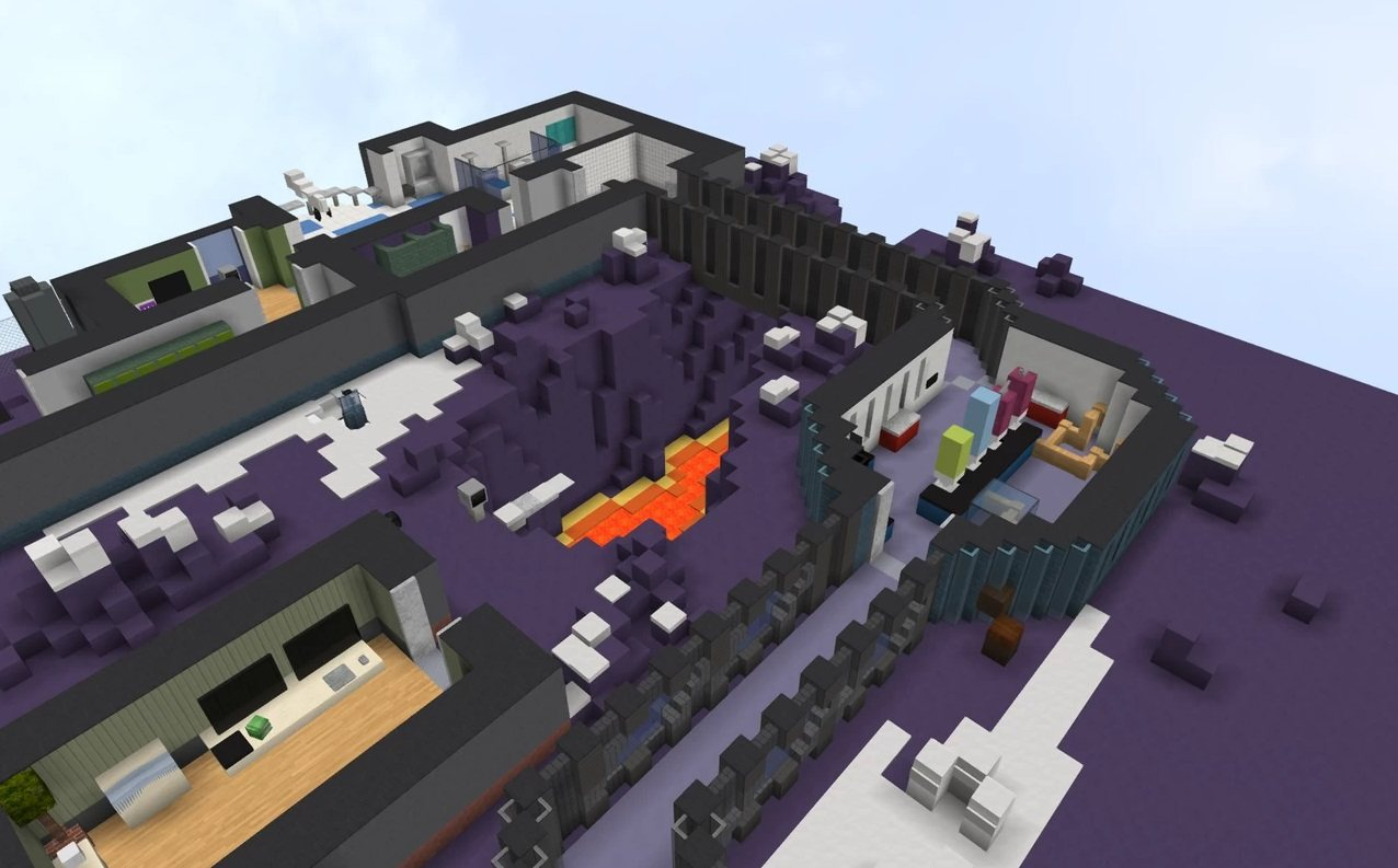 Polus map Among Us in minecraft clif off lawa