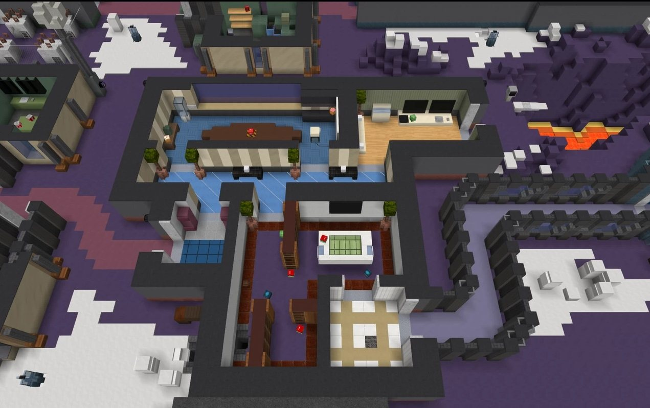 Polus map Among Us in minecraft office and admin room