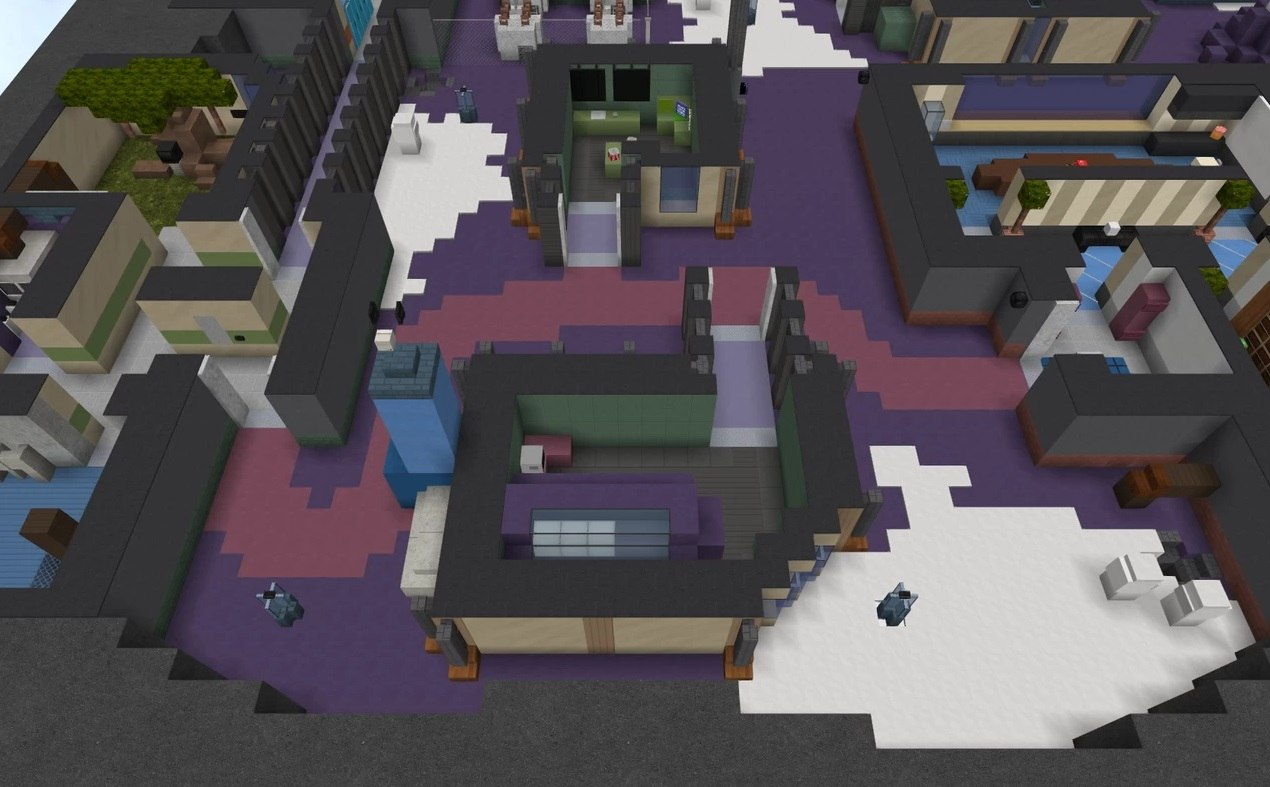 Polus map Among Us in minecraft weapons