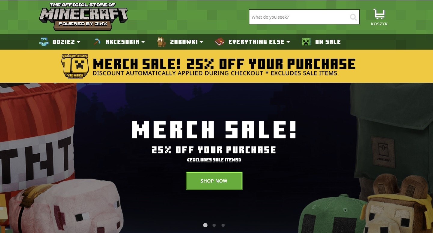 promocja jinx 25 na gadzety minecraft