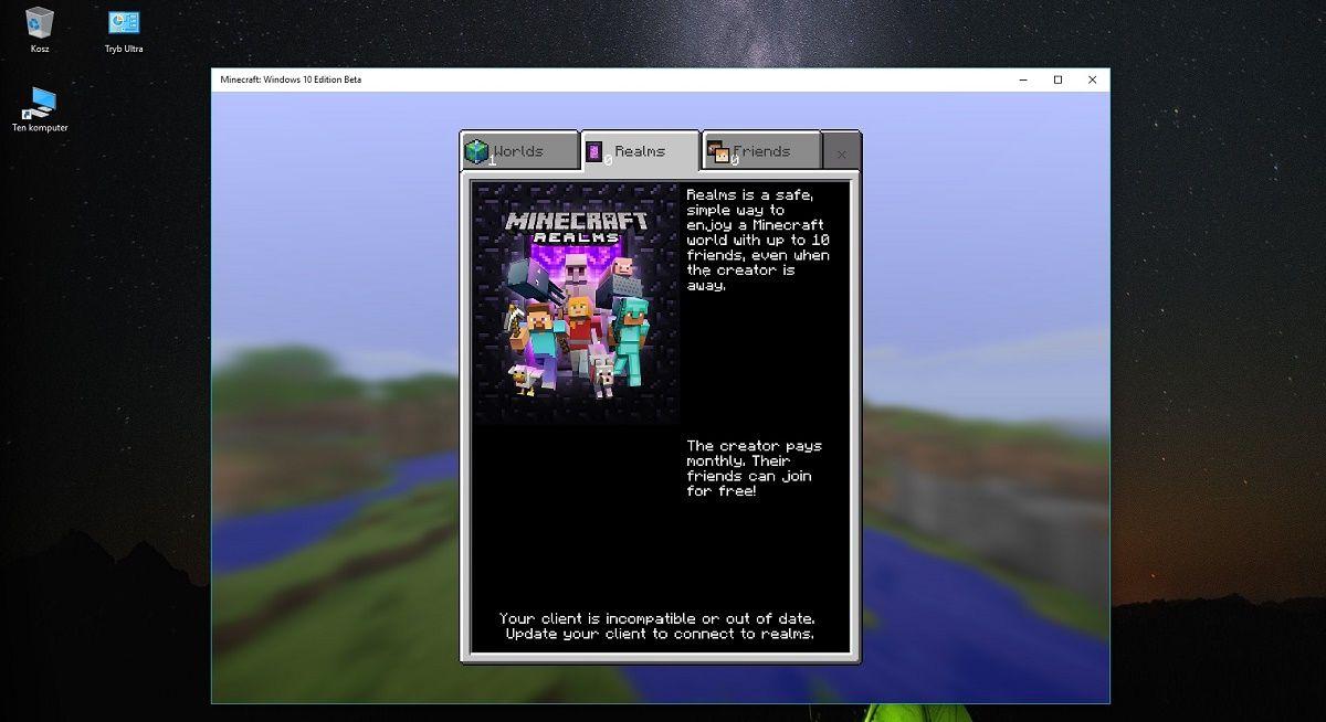 realms minecraft windows 10 beta