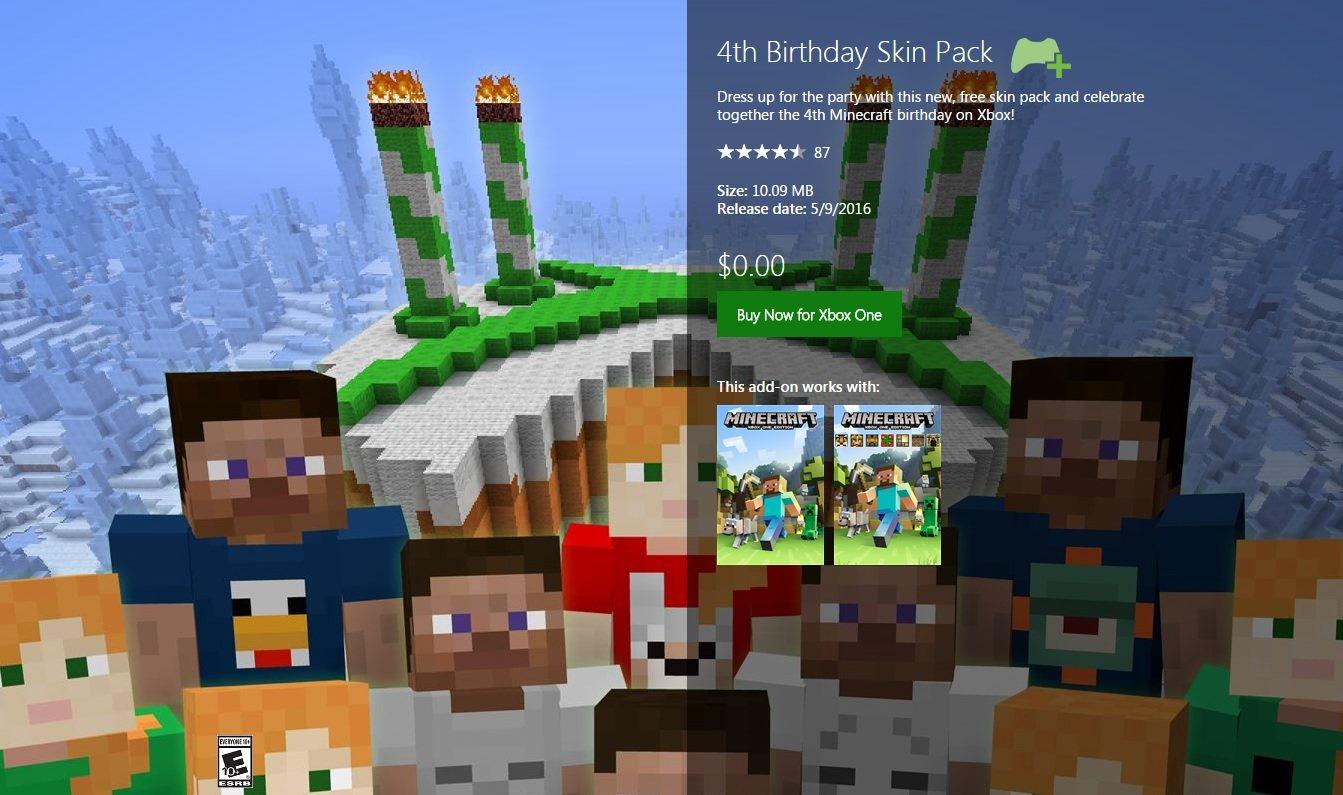 xbox one darmowe skiny na 4 urodziny