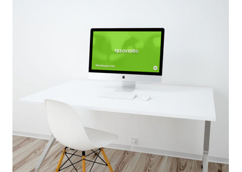 "27"" iMac on the white table in minimalistic white office 