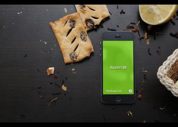 iPhone SE and food | Mockuper.net