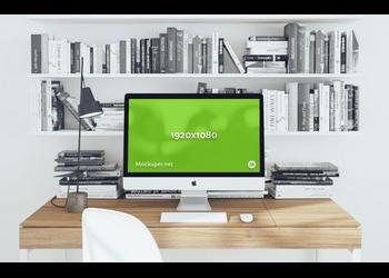 iMac & library | Mockuper.net
