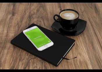 White iPhone 6 & coffee | Mockuper.net