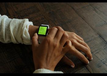 Woman touching white Apple Watch Sport   Mockuper.net