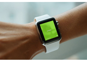Detail of white Apple Watch Sport on woman hand | Mockuper.net
