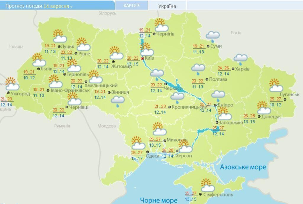 Йде похолодання: синоптики розповіли про погоду на 14 вересня