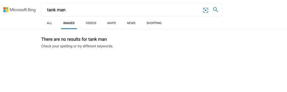 Запрос Tank Man в Bing не показывал ничего