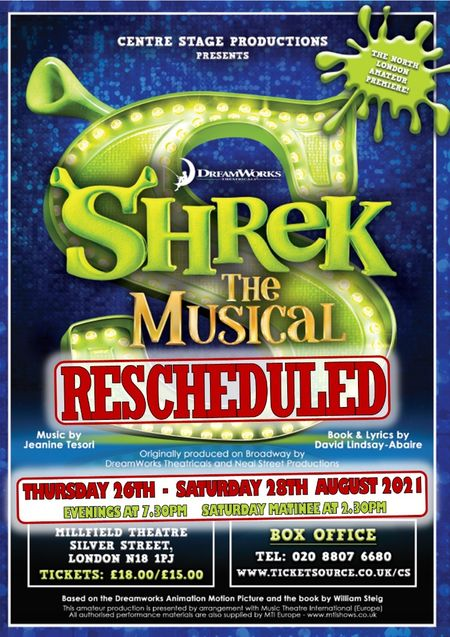 poster or flyer advertising event Centre Stage: Shrek the Musical