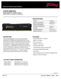 Kit Mémoire RAM Kingston Fury Beast 64 Go (2 x 32 Go) - DDR4, 3600MHz, CL18