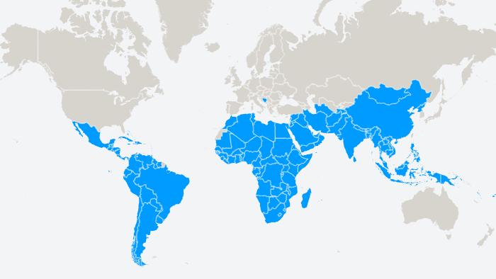 Група 77 - G77 - мапа країн-членів G77