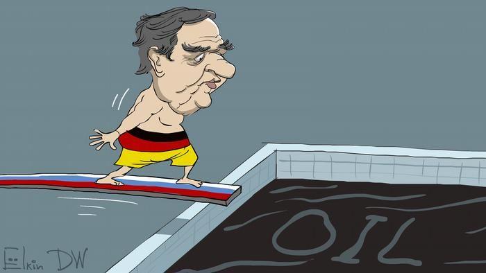 Карикатура Сергія Йолкіна: Шредер стрибає в басейн з нафтою
