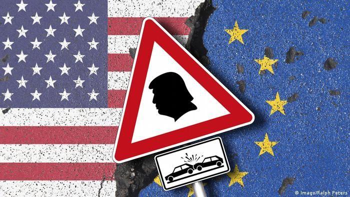 Силует Трампа у червоному трикутнику на тлі прапорів Євросоюзу і США