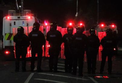police, northern, ireland, pelted, petrol, disorder, continues