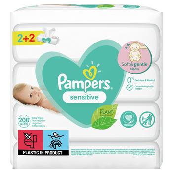 Μωρομάντηλα Pampers Sensitive 208τεμ (4×52τεμ) 2+2 ΔΩΡΟ