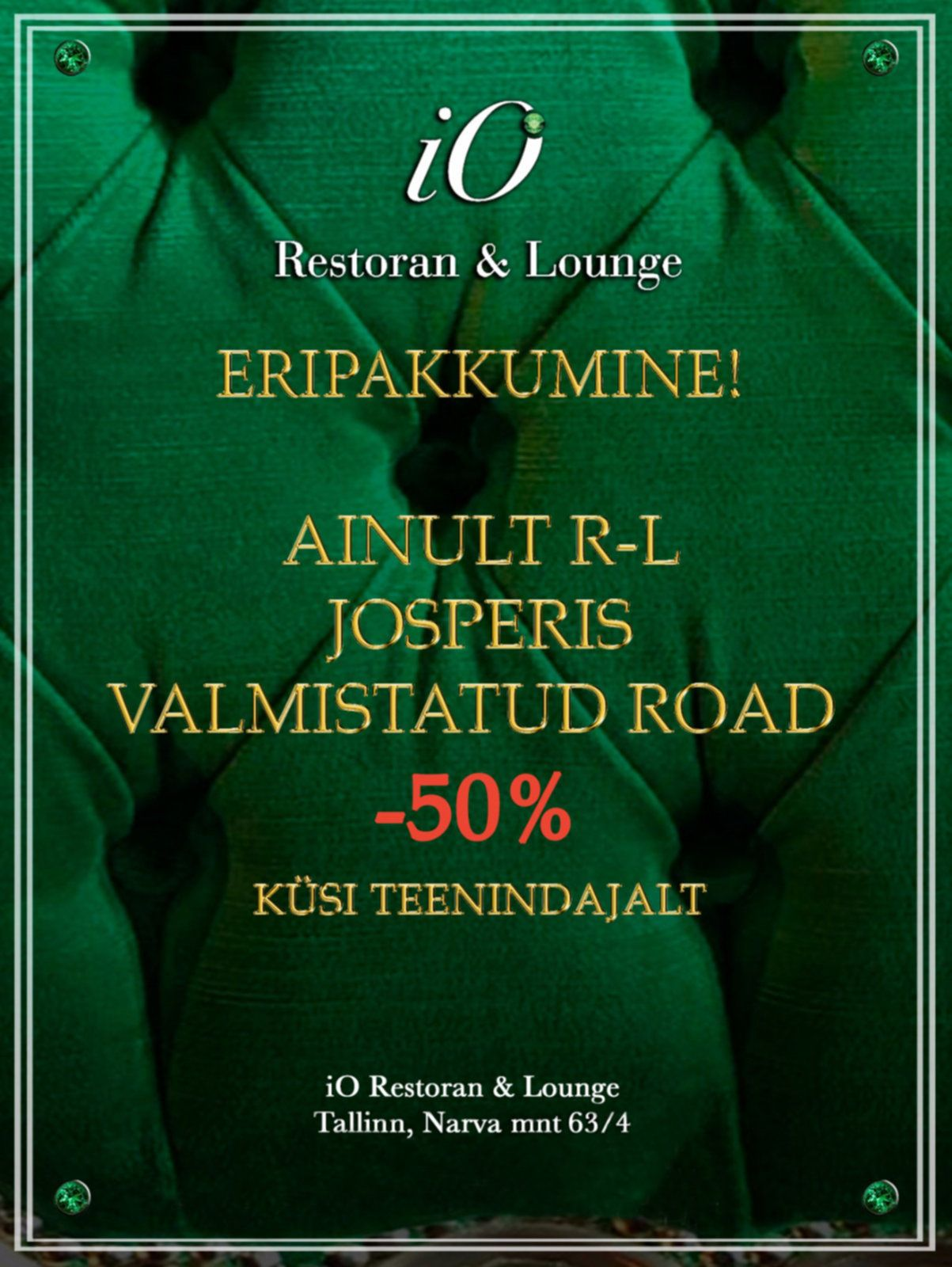 IO Resturant & Lounge Special offer. Josper oven cooked dishes -50%