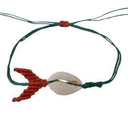 Siballba Μακραμέ βραχιόλι ποδιού με κοχύλι φαλαινάκι πράσινο